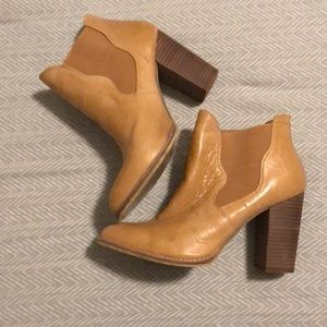 Camel Colored Chinese Laundry Heeled Booties